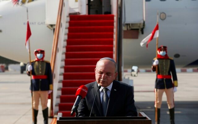 National Security Adviser Meir Ben-Shabbat delivers a statement upon his arrival at the Bahraini International Airport on October 18, 2020. (RONEN ZVULUN / POOL / AFP)