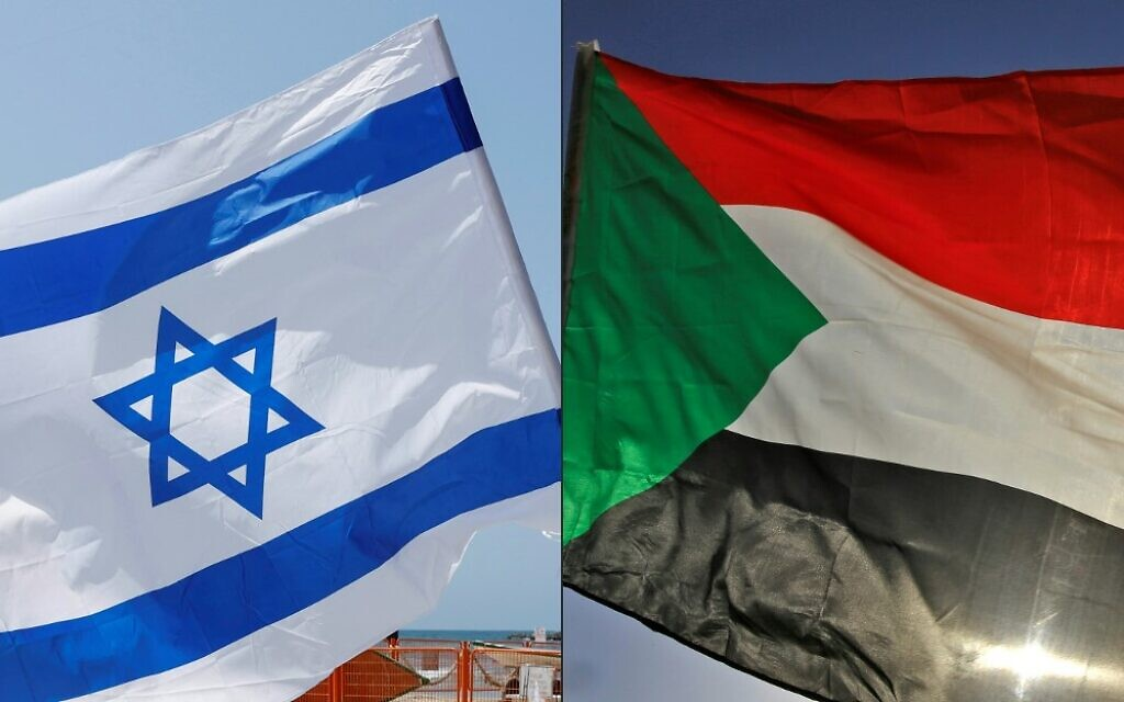 This combination of pictures created on October 23, 2020, shows an Israeli flag during a rally in the coastal city of Tel Aviv on September 19, 2020; and a Sudanese flag during a gathering east of the capital Khartoum on June 3, 2020. (JACK GUEZ and ASHRAF SHAZLY / AFP)