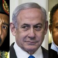 This combination of pictures created on October 24, 2020 shows (L to R): the President of the Sudanese Transitional Council General Abdel Fattah al-Burhan on the outskirts of the capital Khartoum on October 30, 2019; Israeli Prime Minister Benjamin Netanyahu in the East Room of the White House in Washington, DC on January 28, 2020; and Sudan's Prime Minister Abdullah Hamdok in the capital Khartoum on July 26, 2020.(ASHRAF SHAZLY and Sarah Silbiger / various sources / AFP)