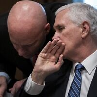 In this file photo taken on March 2, 2020 US Vice President Mike Pence and his chief of staff Mark Short confer during a meeting with the White House Coronavirus Task Force and pharmaceutical executives in Cabinet Room of the White House in Washington, DC (Drew Angerer / GETTY IMAGES NORTH AMERICA / AFP)