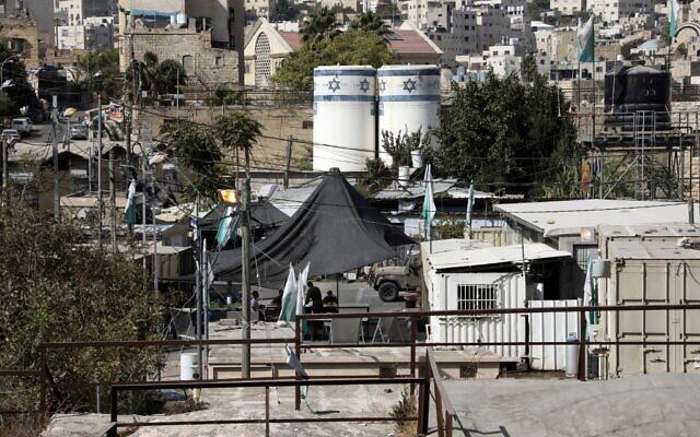 Israeli soldiers in the West Bank city of Hebron, October 27, 2020. (HAZEM BADER/AFP)