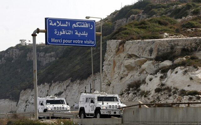 UN military vehicles of the United Nations Interim Forces in Lebanon (UNIFIL) enter the southern Lebanese border town of Naqura where the second round of of talks started on October 28, 2020 between Lebanon and Israel at a UN base on the demarcation of the maritime frontier between the two countries (Mahmoud ZAYYAT / AFP)