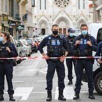 Police block access to the Notre-Dame de l'Assomption Basilica in Nice on October 29, 2020 after a knife-wielding Tunisian man killed three people at the church in a terror attack. (Valery Hache/AFP)