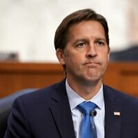 US Sen. Ben Sasse (R-NE) reacts as Supreme Court nominee Judge Amy Coney Barrett testifies before the Senate Judiciary Committee, on October 14, 2020 in Washington, DC. (Greg Nash-Pool/Getty Images/AFP