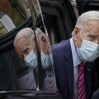 Democratic US presidential nominee Joe Biden arrives at The Queen theater on October 19, 2020, in Wilmington, Delaware. (Drew Angerer/Getty Images/AFP)