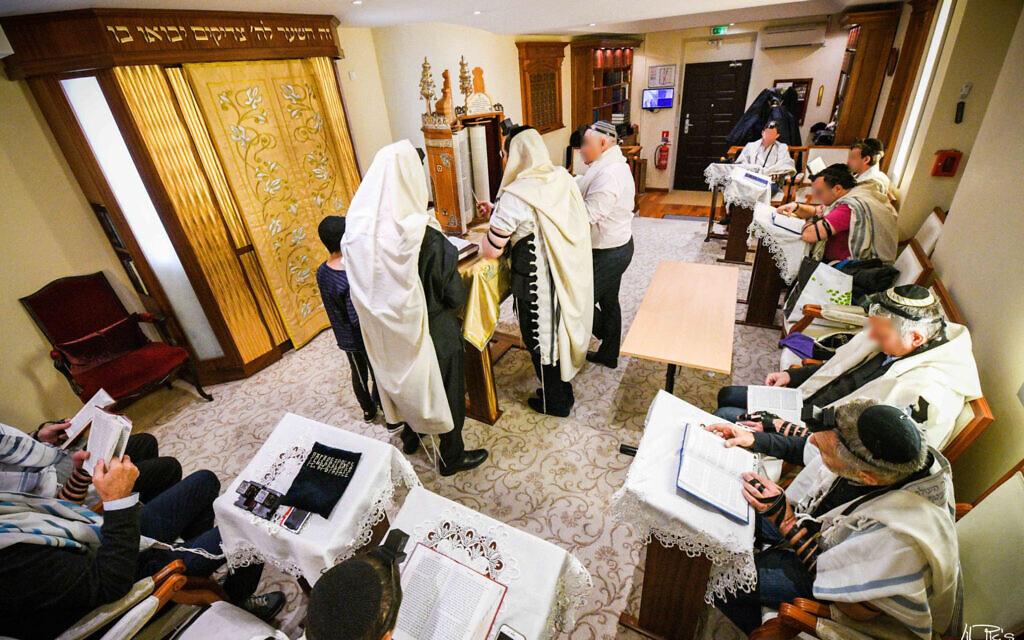 Jews pray at the Jewish Cultural Center of Monaco in 2018. (Courtesy of Rabbi Tanhoum Matusof/ via JTA)