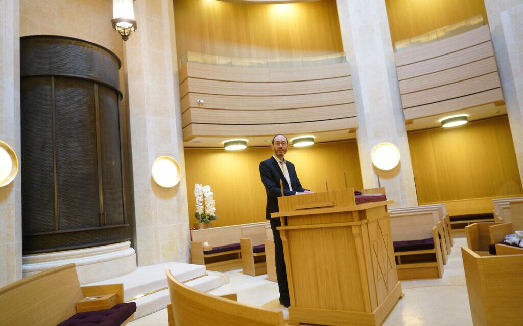 Rabbi Daniel Torgmant prays at the Synagogue Edmond Safra in Monaco, March 7, 2018. (Cnaan Liphshiz/ JTA)