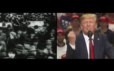 A screen capture from an ad by the Jewish Democratic Council of America released on September 29, 2020. The ad draws parallels between the rise of fascism in Germany and the Trump presidency. (YouTube)