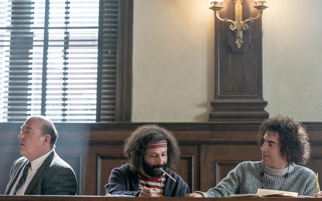 From right: Sacha Baron Cohen as Abbie Hoffman, Jeremy Strong as Jerry Rubin and John Carroll Lynch as David Dellinger in Aaron Sorkin's 'The Trial of the Chicago 7.' (Courtesy Netflix)