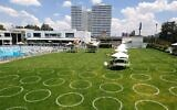 Circles on a lawn at the Centro Deportivo Israelita, Mexico City's Jewish community center, are drawn to guide social distancing. (Alan Grabinsky/ JTA)
