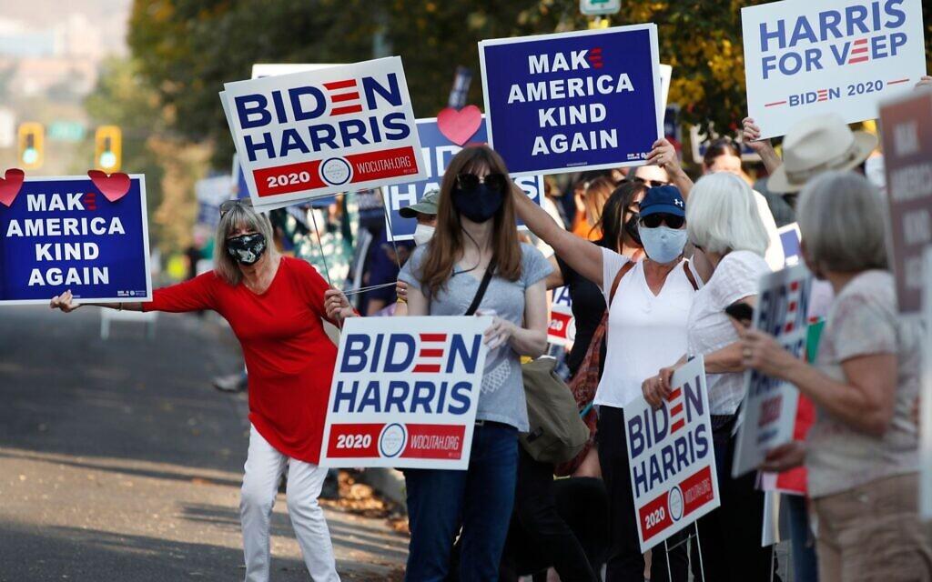 Illustrative: Supporters of Democratic Presidential candidate and former US Vice President Joe Biden show their support before the vice presidential debate outside Kingsbury Hall at the University of Utah in Salt Lake City, Utah on October 7, 2020. (George Frey AFP via Getty Images/ via JTA)
