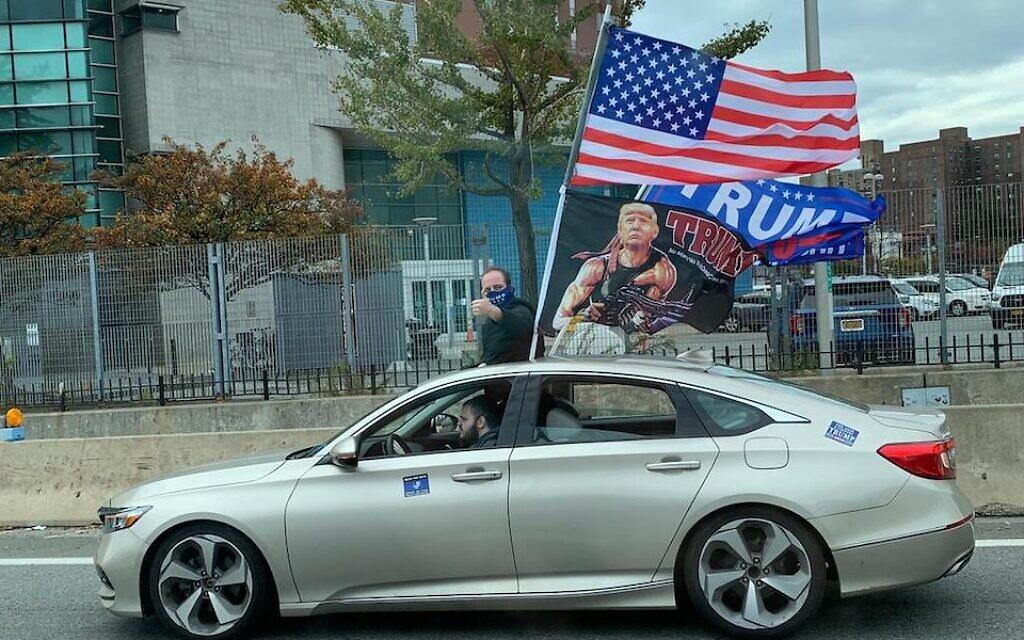 Cars drove through New York City Sunday waving Trump 2020 flags. (Shira Hanau/ JTA)