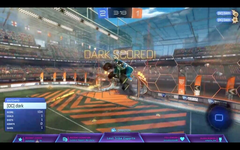 A screenshot from a Lost Tribe Esports tournament where participants played Rocket League, a game in which flying cars play soccer. (Screenshot/ via JTA)