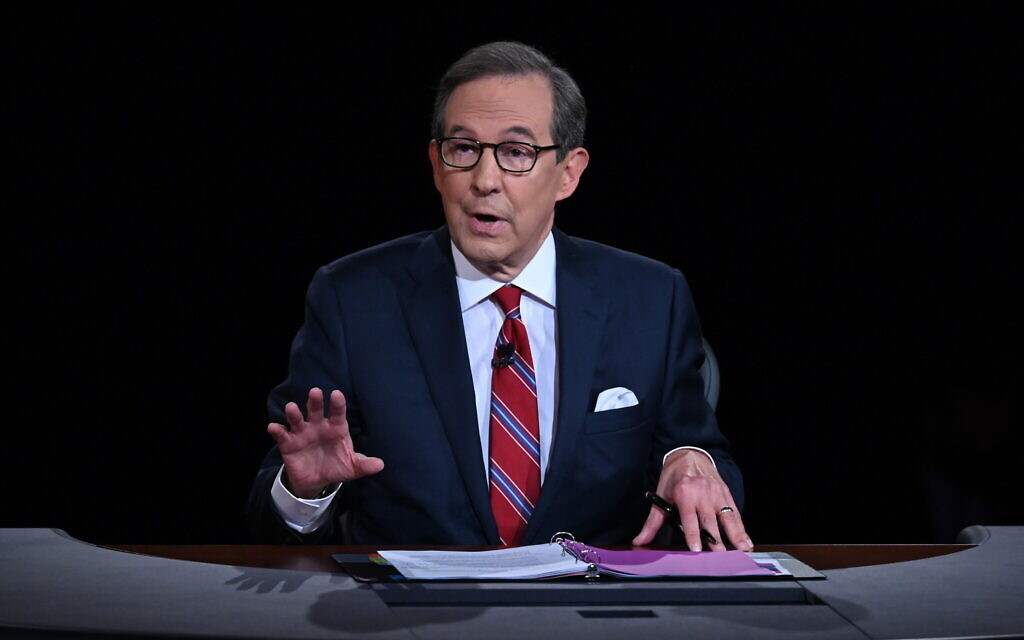 Jewish journalist Chris Wallace, seen here during the first 2020 presidential debate in Cleveland, was named after Christopher Columbus. (Olivier Douliery/Pool/Getty Images/ via JTA)
