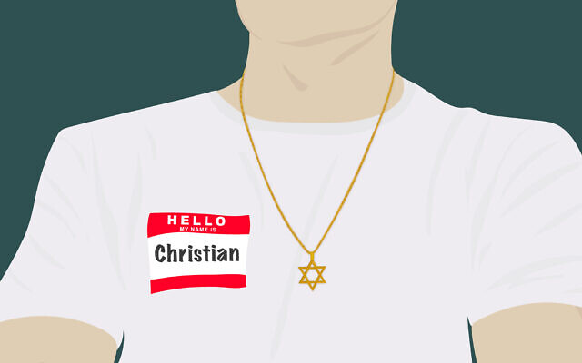 Although it is still relatively rare, it has become more common in recent decades for Jews to have traditionally Christian names. (Illustration by Grace Yagel/ JTA)