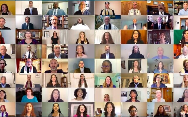 100 Jewish and Black faith leaders featured in a music video of the gospel song 'Total Praise.' (Courtesy of Cantors Assembly)