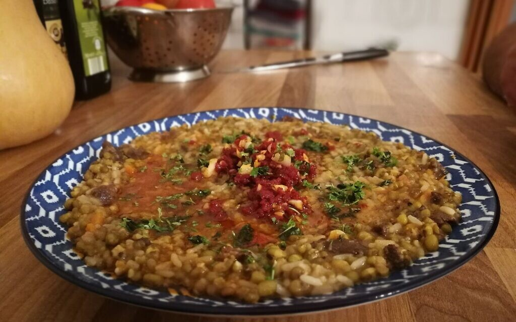Sholah, a rice and mung bean mash, by chef Max Malkiel. (Courtesy)