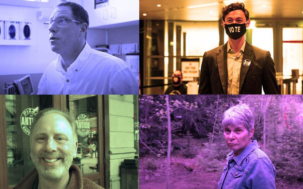 Clockwise, from top left: Al Gross, Jon Ossoff, Merav Ben-David and Matt Lieberman. (Screen shots from YouTube; Getty Images; Ron Kampeas, all via JTA)
