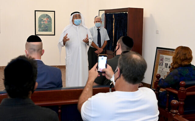Dr. Shaikh Khalid bin Khalifa Al-Khalifa of the King Hamad Global Center for Peaceful Coexistence, speaks to Israeli journalists at the Bahrain Jewish Community Synagogue, October 18, 2020. (Matty Stern/US Embassy Jerusalem)