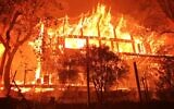 A house in Napa County burns in the Glass Fire, September 29, 2020. (Napa County Sheriff/ via JTA)