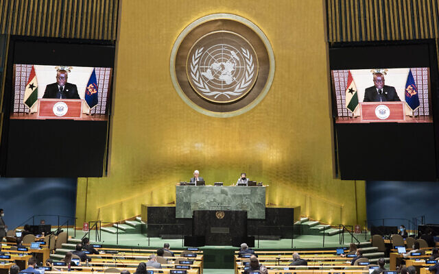 Illustrative: In this photo provided by the United Nations, the pre-recorded message of Nana Addo Dankwa Akufo-Addo, President of Ghana, is played during the 75th session of the United Nations General Assembly, Wednesday Sept. 23, 2020, at U.N. headquarters in New York. (Eskinder Debebe/United Nations via AP)