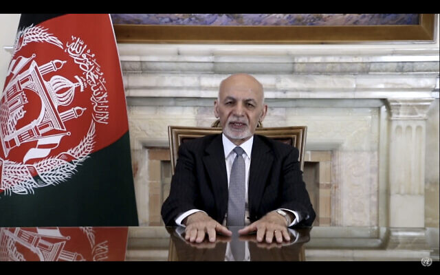 In this UNTV image, Mohammad Ashraf Ghani, president of Afghanistan, speaks in a pre-recorded video message during the 75th session of the United Nations General Assembly, September 23, 2020, at UN headquarters. (UNTV via AP)