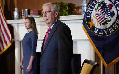 Senate Majority Leader Mitch McConnell meets with Supreme Court nominee Judge Amy Coney Barrett on Capitol Hill in Washington, September 29, 2020. (AP Photo/Susan Walsh, POOL)
