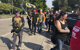 Members of the far-right Proud Boys in Salem, Oregon, on September 7, 2020, for a pro-Trump rally at the state capitol. (AP Photo/Andrew Selsky)