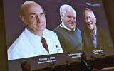 The 2020 Nobel laureates in Physiology or Medicine are announced during a news conference at the Karolinska Institute in Stockholm, Sweden, Monday Oct. 5, 2020. The prize has been awarded jointly to Harvey J. Alter, left on screen, Michael Houghton, center, and Charles M. Rice for the discovery of the Hepatitis C virus. (Claudio Bresciani/TT via AP)