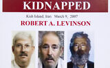 An FBI poster showing a composite image of former FBI agent Robert Levinson, right, of how he would look like now after five years in captivity, and an image, center, taken from the video, released by his kidnappers, and a picture before he was kidnapped, left, displayed during a news conference in Washington, March 6, 2012. (Manuel Balce Ceneta/AP)