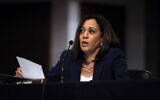 Sen. Kamala Harris, D-Calif., speaks during a Senate Judiciary Committee business meeting on Capitol Hill in Washington, June 11, 2020. (AP Photo/Carolyn Kaster, Pool)