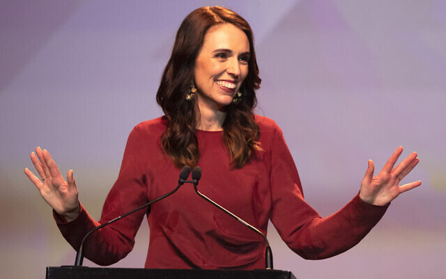 New Zealand Prime Minister Jacinda Ardern gestures as she gives her victory speech to Labour Party members at an event in Auckland, New Zealand, October 17, 2020. (AP Photo/Mark Baker)