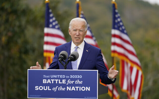 Democratic presidential candidate former Vice President Joe Biden speaks at Mountain Top Inn & Resort, Tuesday, Oct. 27, 2020, in Warm Springs, Ga. (AP Photo/Andrew Harnik)