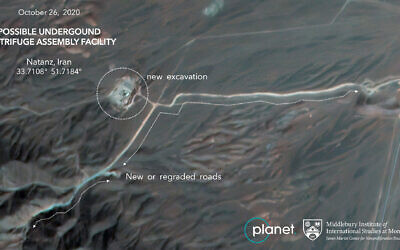 Construction at Iran's Natanz uranium-enrichment facility that experts believe may be a new, underground centrifuge assembly plant, annotated by experts at the James Martin Center for Nonproliferation Studies at Middlebury Institute of International Studies, October 26, 2020. (Planet Labs Inc. via AP)