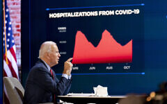 Democratic presidential candidate former Vice President Joe Biden speaks during a virtual public health briefing at The Queen theater in Wilmington, Del., Wednesday, Oct. 28, 2020. (AP Photo/Andrew Harnik)