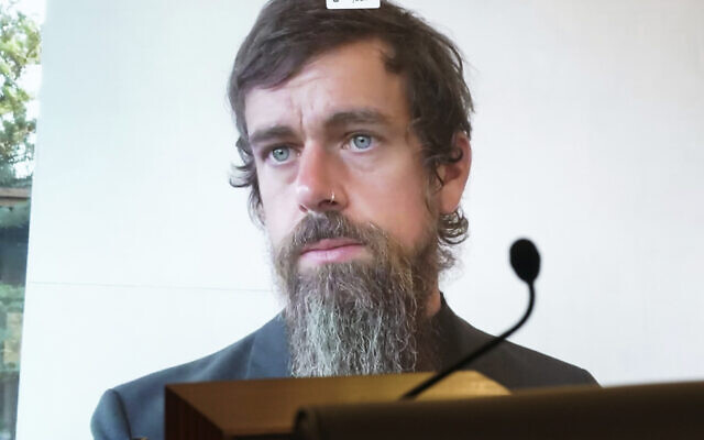 Twitter CEO Jack Dorsey appears on a screen as he speaks remotely during a hearing before the Senate Commerce Committee on Capitol Hill on October 28, 2020, in Washington. (Greg Nash/Pool via AP)