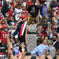 President Donald Trump and first lady Melania Trump arrive for a campaign rally on October 29, 2020, in Tampa, Fla. (AP/Chris O'Meara)