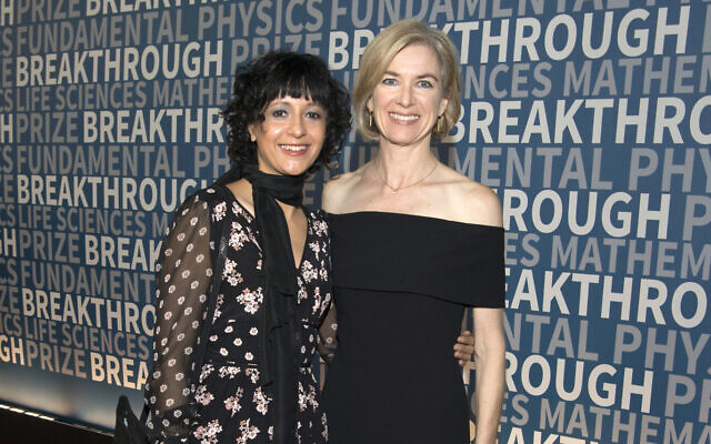 Emmanuelle Charpentier, left, and Jennifer Doudna arrive at the fifth annual Breakthrough Prize Ceremony at the NASA Ames Research Center in Mountain View, California, December 4, 2016. ( Peter Barreras/Invision/AP)