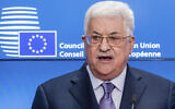 Palestinian Authority President Mahmoud Abbas addresses the media at the EU Council in Brussels on January 22, 2018. (AP Photo/Geert Vanden Wijngaert)