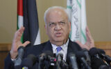 Palestinian Saeb Erekat speaks during a press conference in the West Bank city of Ramallah, Sept. 11, 2018. (AP Photo/Nasser Shiyoukhi)