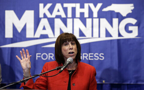 Kathy Manning, the Democratic candidate for the the 13th Congressional District of North Carolina speaks to supporters during an election night event in Greensboro, N.C., Tuesday, Nov. 6, 2018. (AP Photo/Gerry Broome)