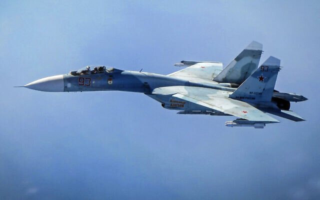 Illustrative: In this image released by the British Royal Air Force and taken on Tuesday, June 25, 2019,  a Russian SU-27 in intercepted by a Royal Air Force Typhoon, currently based out of Amari Air Base, Estonia  (Royal Air Force via AP)