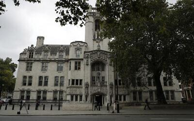 An exterior view shows the facade of the Supreme Court in London, Sept. 16, 2019 (AP Photo/Matt Dunham)