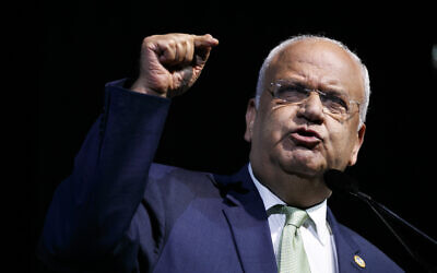 Chief Palestinian negotiator Saeb Erekat speaks at the J Street National Conference, in Washington, October 28, 2019. (Jacquelyn Martin/AP)