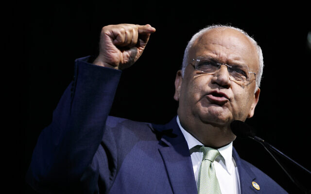 Chief Palestinian negotiator Saeb Erekat speaks at the J Street National Conference, Monday, Oct. 28, 2019, in Washington. (AP Photo/Jacquelyn Martin)