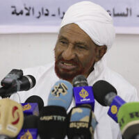 Former Sudanese Prime Minister Sadiq al-Mahdi, leader of the Umma political party, speaks during a press conference in Khartoum, Sudan, Feb. 6, 2020. (AP Photo/Marwan Ali)