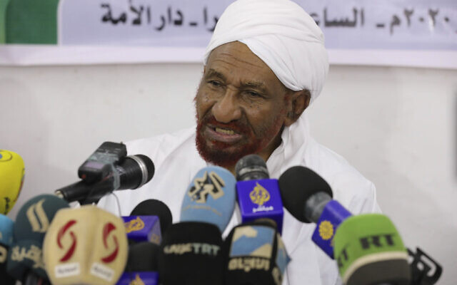 File: Former Sudanese Prime Minister Sadiq al-Mahdi, leader of the Umma political party, speaks during a press conference in Khartoum, Sudan, Thursday, Feb. 6, 2020. (AP Photo/Marwan Ali)