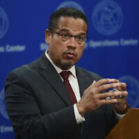 In this May 27, 2020, file photo, Minnesota Attorney General Keith Ellison answers questions during a news conference in St. Paul, Minn.(John Autey/Pioneer Press via AP, Pool)