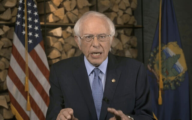 Screen capture from video of Sen. Bernie Sanders, Independent-Vermont, speaking during the first night of the Democratic National Convention, August 17, 2020. (Democratic National Convention via AP)