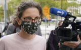 Clare Bronfman arrives at federal court, Sept. 30, 2020, in the Brooklyn borough of New York (AP Photo/John Minchillo)